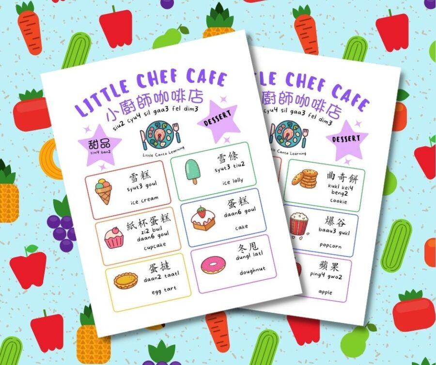 Cafe dessert menu role play sheet