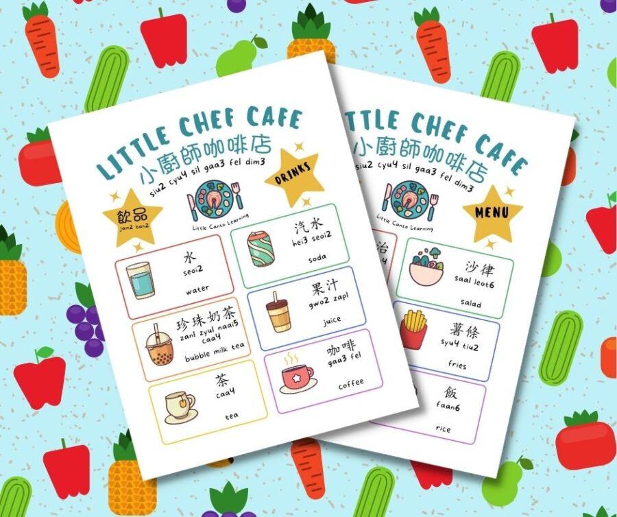 Cafe menu role play sheet